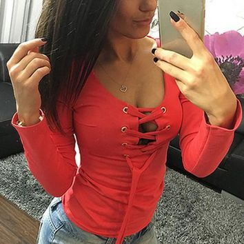 Red Plain Drawstring Plunging Neckline Long Sleeve T-Shirt