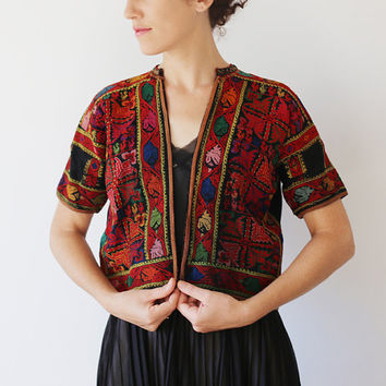 Embroidery Palestine Jacket hand made Colorful Cross Stitch  Arab Textile Tribal black Jacket blouse Bedouin vintage top Rare  Free Shipping