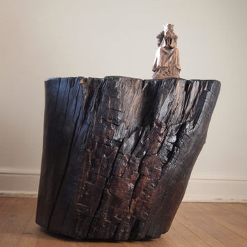 Tree Stump Table:  sublime detail with dark espresso highlights