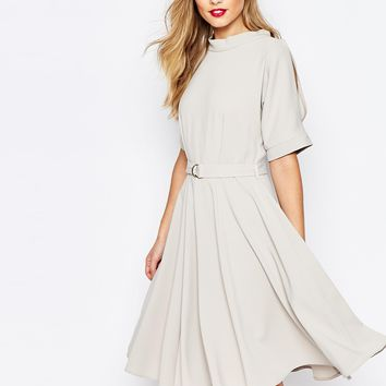 Closet Midi Skater Dress With D Belt at asos.com