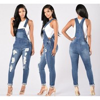 Women All-match Fashion Worn Ripped Jeans Strap Romper Jumpsuit Trousers