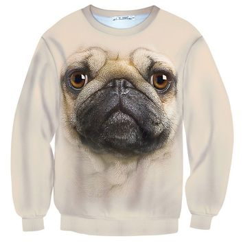 Pug Puppy Dog Face All Over Print Unisex Pullover Sweater | Gifts for Dog Lovers