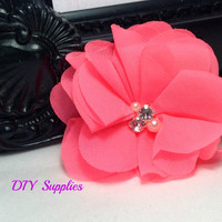 Bright pink chiffon flower - bridal accessories - fabric flowers - wholesale flower - headband supplies - ballerina flower - diy supplies