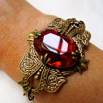 Art Nouveau Bracelet Crystal Bracelet Red Bracelet Ruby Brass Bracelet Filigree Bracelet- Egyptian Jewels