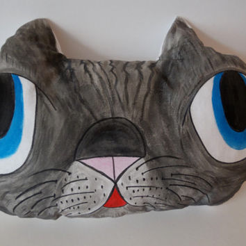 Hand Painted Cat Pillow,Nursery Decor,Decorative Gray Cat,Soft Sculpture,Hand drawn Pillows,Animal Totems,Fiber Art ,Kitten Pillows