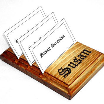 Multiple Business Wood Card Holder with burnt name, 3 Slot