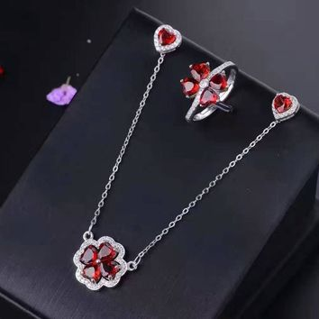 Natural red garnet gem jewelry sets natural gemstone ring Pendant Earrings 925 silver Elegant Romantic heart gift fine jewelry