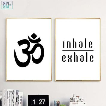 SPLSPL Inhale Exhale Yoga Quote Canvas Painting Aum Ohm Poster Prints Meditation Wall Art Decor for Bedroom No Frame