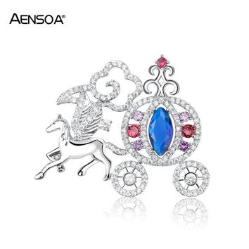 AENSOA Top Quality Cinderella Horse Pumpkin Carriage Brooches For Women Cubic Zirconia Pins Brooch Lady Wedding Bridal Jewelry