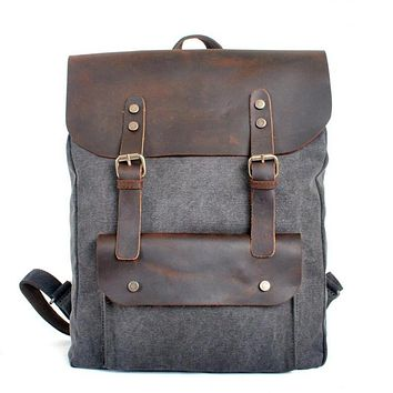 Unisex Canvas Backpack With Leather Flap