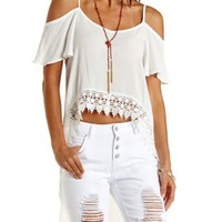 White Cold Shoulder High-Low Top by Charlotte Russe
