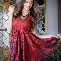 Brilliance Floral Lace Dress in Red