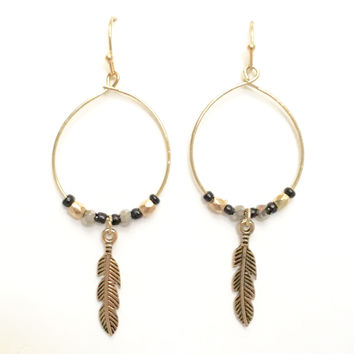 Peaceful Trail Feather & Hoop Earrings