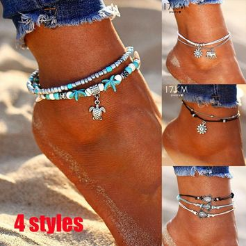 2018 Hot Turtle Anklet Beads Starfish Anklets for Women Multi Layer Ankle Bracelet Bohemian Foot Chain Leg Jewelry Sandals Gift