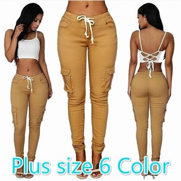 6 Color Women Pants Sport Pants Hight Waist Drawstring Fashion Big Pocket Pants Women Bottom