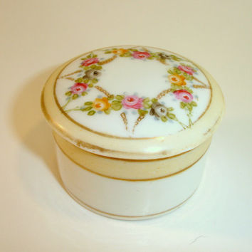 Vintage Porcelain Trinket Box: Noritake Morimura Nippon, Hand Painted Vanity Powder Jar with Roses, Tiny Jewelry Ring or Pill Box