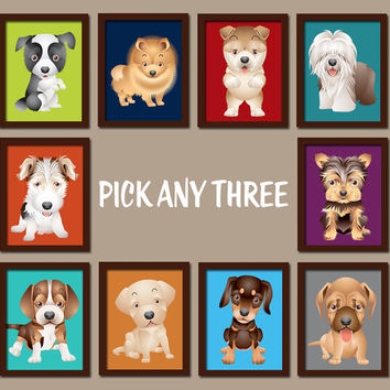 Puppy Dogs Wall Art Dog Baby Boy Bedroom Prints Nursery Artwork D
