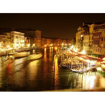 Venice At Night poster Photography Skyline 11 inch x 17 inch poster