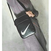 Nike Popular Women Men Leather Zipper Purse Sport Single-Shoulder Bag Crossbody I-A30-XBSJ