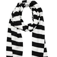 Michael Kors Black And White Striped Scarf