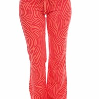 ORANGE ZEBRA PRINT COTTON RELAXED FIT DRAW STRING SWEAT PANTS