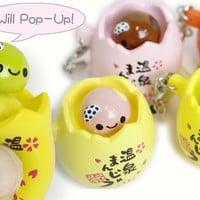 Strapya World : Japanese Kawaii Character Squishy Pop-Up Egg Cell Phone Strap (Mikan Mandarin Orange)