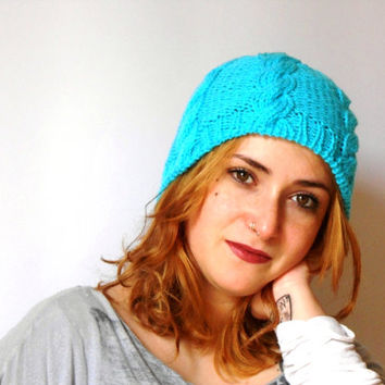 hand knit beanie, cable stitch beanie, turquoise knit hat , vegan slouchy hat by cosediisa