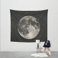 The Moon [Sans Type] Wall Tapestry by Heather Landis