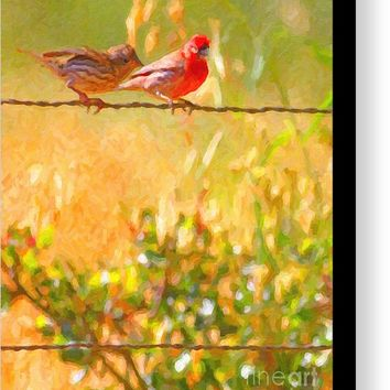 Two Birds On A Wire Canvas Print