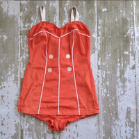 [sold out] vintage 1950s tomato red Sun Kiss bombshell by simplicityisbliss