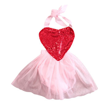 Summer Girl Princess Love Heart Flower Dress Kid Baby Party Lace Sequins Wedding Dresses Clothes