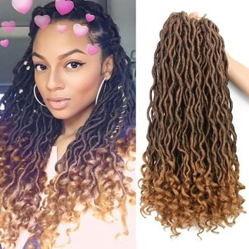 6Packs/Lot Wavy Goddess Faux Locs Crochet Synthetic Braiding Hair 18 inch Soft Curly Fauxlocs Havana Mambo Twist Kanekalon Hair Extensions Braids Dreadlocks 24Roots (18inch Natural Black Brown T1B/27)