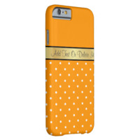 Gold Monogram Chic Amber Orange & White Polka Dots iPhone 6 Case