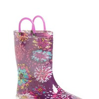 Girl's Western Chief 'Abstract Blooms' Light-Up Rain Boot,