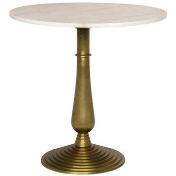 Ariano Side Table, Gold Finish, Cast Iron and Quartz