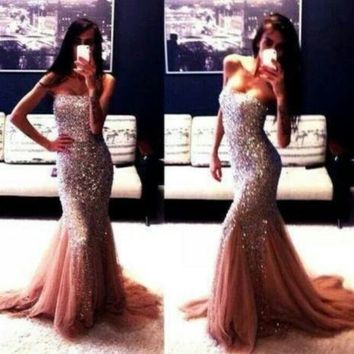 Sexy Beaded Evening Party Dresses Strapless Sequin Long Mermaid Prom Dress Gowns