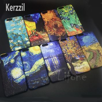 Kerzzil For Van Gogh Art Paintings Sunflowers Case For iPhone 6 6s 7 Plus Phone Cover Plastic Matte Hard Case For iPhone 7 6s