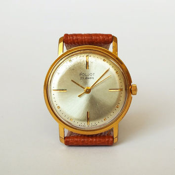 Rare men's watch POLJOT, vintage gold plated 20 microns mechanical men's wrist watch 60s, slim men's dress watch
