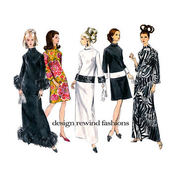 VOGUE MoD EVENING GOWN Pattern Cocktail Dress Pattern Maxi Evening Dress Bell Sleeves Vogue 7227 70s Womens Sewing Patterns 34 Bust Size 14