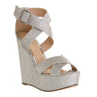 Office Jo Jo X Front Wedge Silver Glitter - High Heels