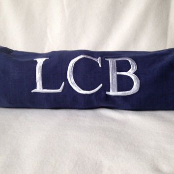 Personalized Pillowcases, Navy Blue Monogram bolster pillow cover, Neck Roll Pillow Cover, Neck support yoga bolster cover