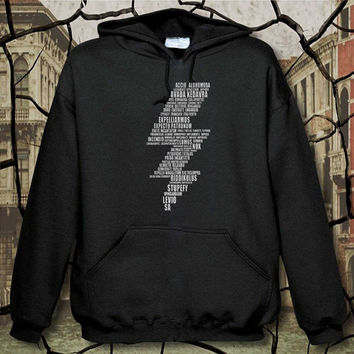 harry potter lightning bolt spells hoodie, hoodie unisex adult, available size S,M,L,XL,XXL
