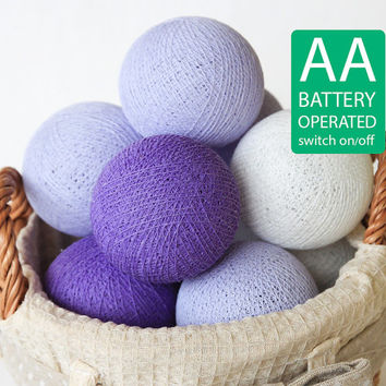 20 Lavender Tone Cotton Ball LED String Lights AA Battery Operated, Wedding, Patio Party, Fairy, Bedroom, Outdoor, Decor