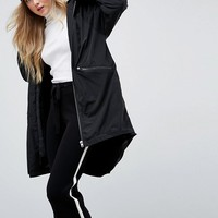 ASOS Midi Rain Jacket with Faux Fur Liner at asos.com