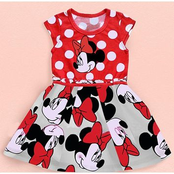 Summer new minnie girl dress/Cartoon minnie polka dots baby dress/Red lovely girl dress