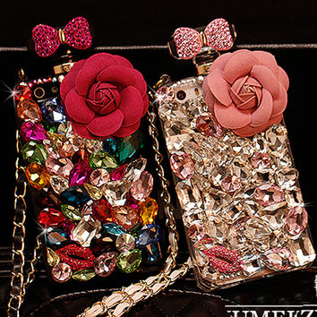 Luxury Lanyard 3D Flower Diamond Case Rhinestone Crystal Bling  iPhone 6s 6 plus 5S 5 5C 4S 4