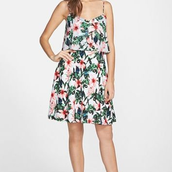 Petite Women's Vince Camuto 'Jungle Lily' A-Line Popover Dress