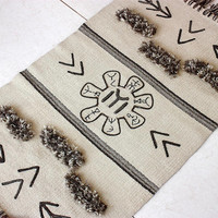Unique handwoven wool rug with tribal, ancient symbols, bringing luck and wealth, white handwoven wool rug, made according the golden ratio