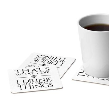 CREYON9R I Drink and I Forget Things | Game of Thrones | Tyrion Lannister | Square Paper Coaster Set - 6pcs