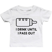 Graphic Snap-on Style Baby Tee, Infant Tee - Drink Until I Pass Out